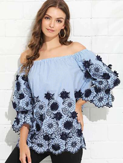4dadd0dcb1a52 Cheap Floral Embroidery Striped Bardot Top for sale Australia