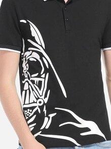 c85e7b48e9975 Men Black And White Abstract Print Polo Shirt