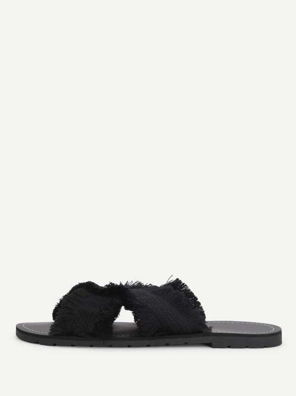 33916becadda23 Raw Trim Criss Cross Flat Slippers -SheIn(Sheinside)