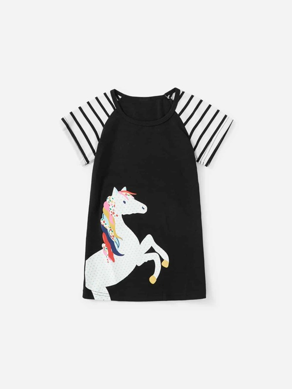 f9613f7f935116 Vestido de niñas con estampado de unicornio de manga raglán en contraste