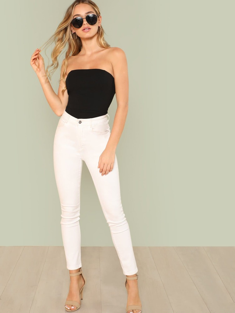 2015a8b1f4e Cheap Slim Fitted Strapless Skinny Bodysuit for sale Australia