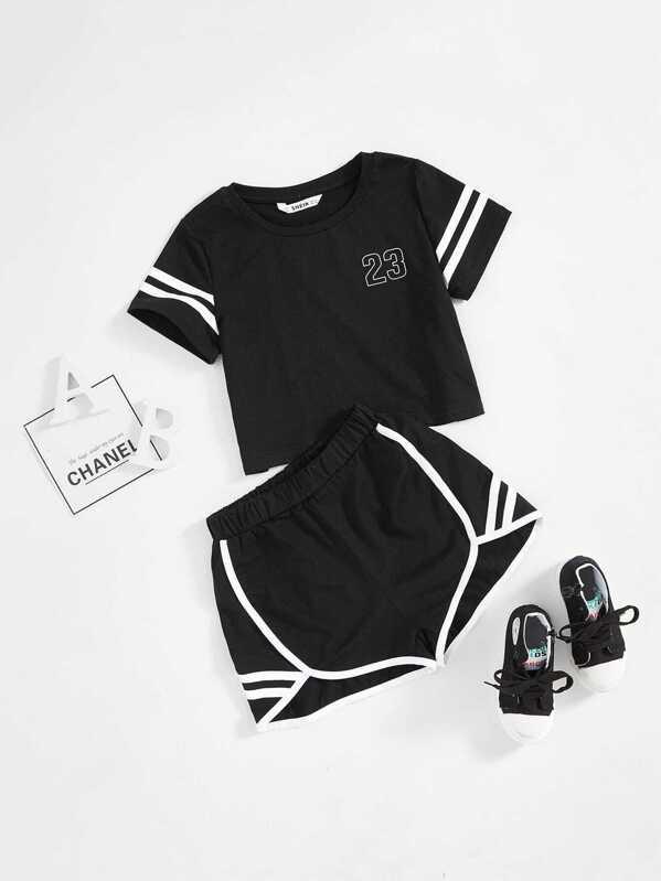 e13973809d Shoptagr | Girls Varsity Print Tee & Dolphin Hem Shorts Set by Shein