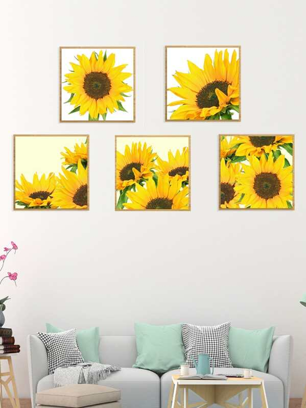 Sun Flower Cloth Wall Art 5pcs -SheIn(Sheinside)