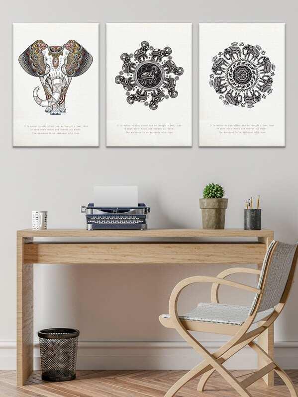 Elephant Pattern Boho Cloth Wall Art 3pcs -SheIn(Sheinside)
