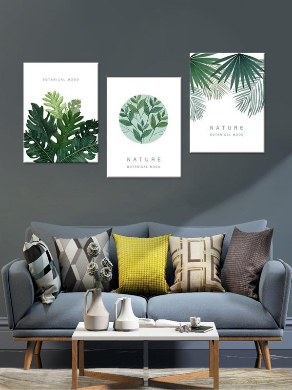 Tropical Leaves Cloth Wall Art 3pcs -SheIn(Sheinside)