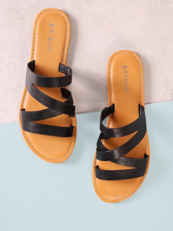 Strappy Slide Sandal -SheIn(Sheinside) 2845931c37ef8