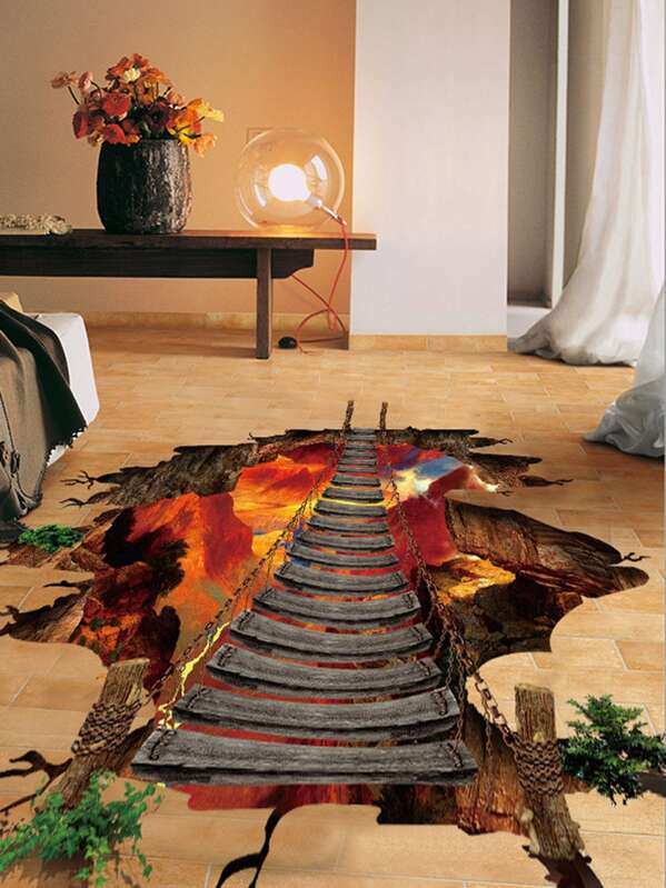 3d Bridge Floor Decal Shein Sheinside