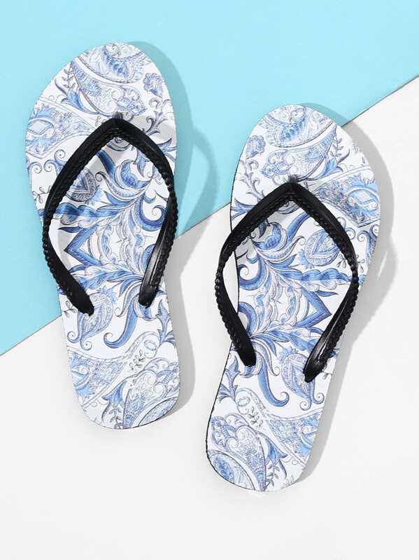 515f6123093c Plaited Strap Porcelain Flip Flops -SheIn(Sheinside)