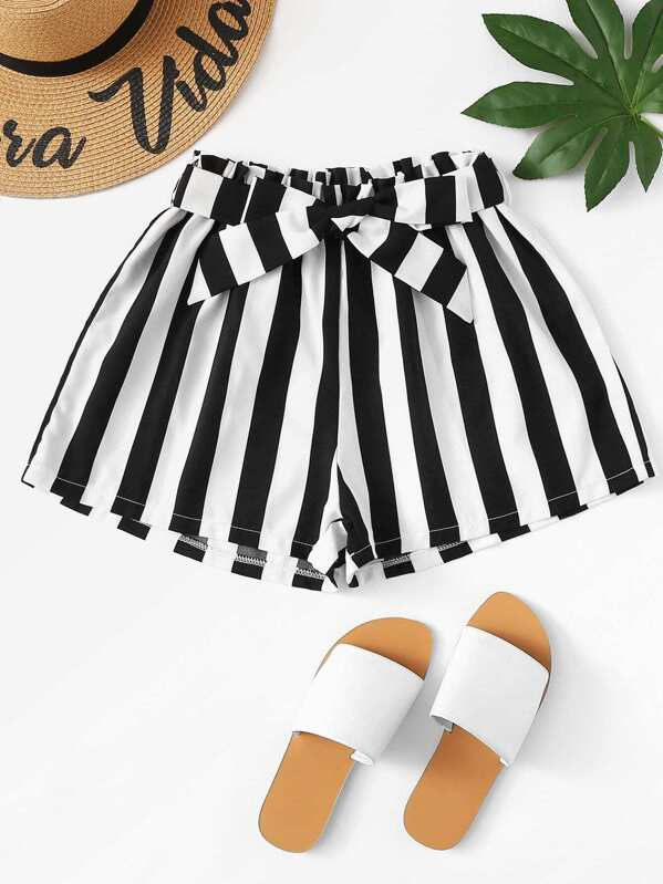 Belted Detail Striped Shorts by Sheinside