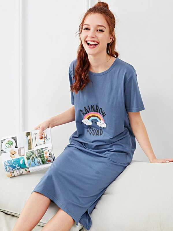 Rainbow & Letter Graphic Night Dress, Blue, Poly