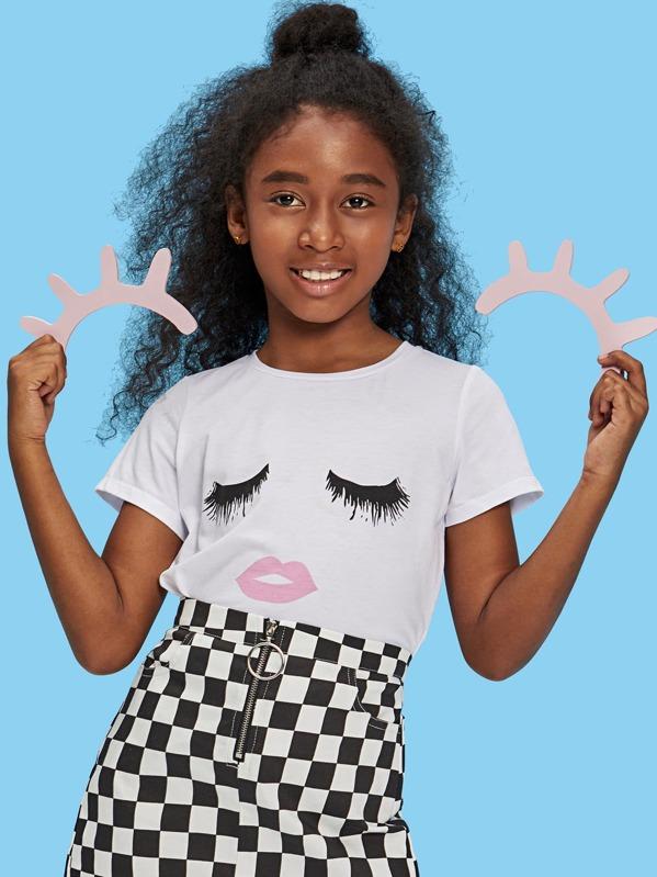 db85c1f379 Shoptagr | Girls Face Print Tee by Shein