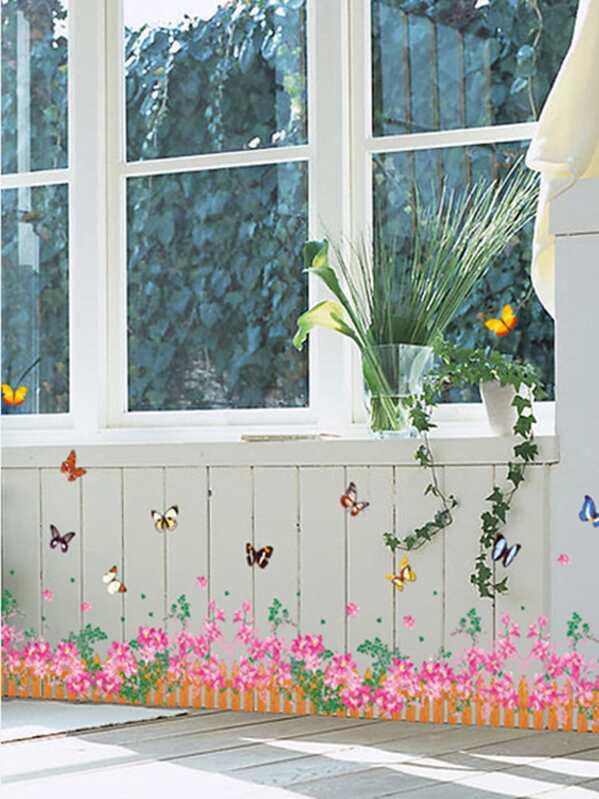 flower fence wall sticker -shein(sheinside)