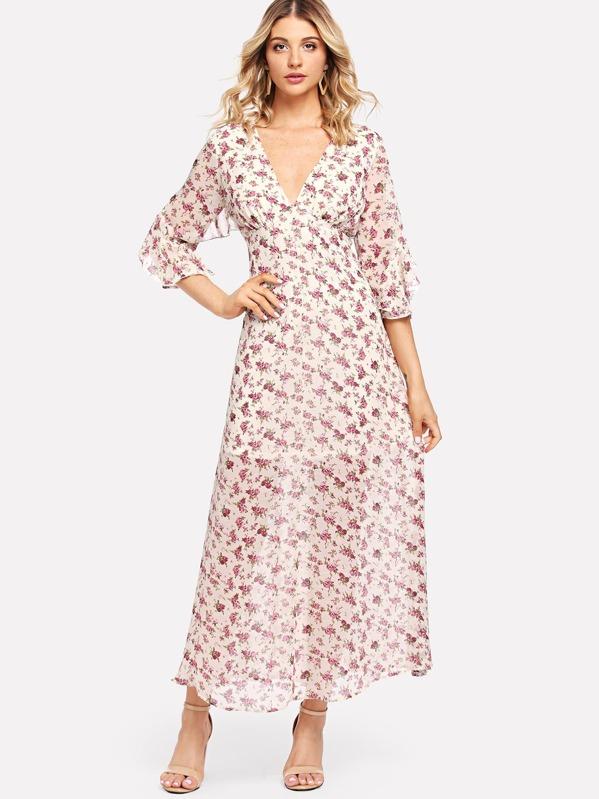 0113b43303f0c Calico Print Flowy Dress -SheIn(Sheinside)