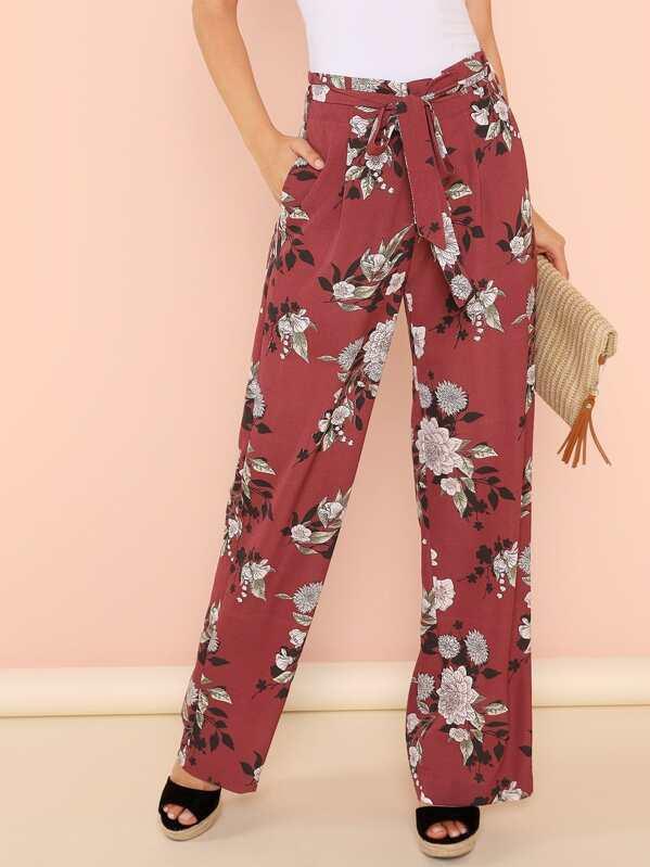 Pantalones anchos floral con bolsillo oblicuo con cinturón  5b876ee5dab