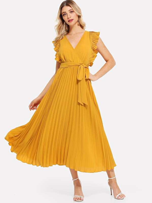 Ruffle Trim Pleated Wrap Dress Sheinsheinside
