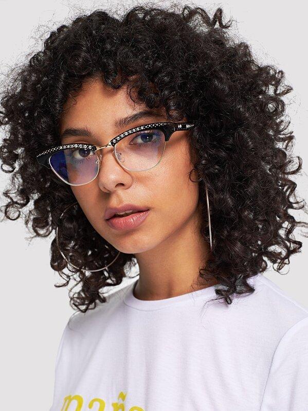 173df2889f Gafas de sol de lentes planas con diseño de diamante de imitación-Spanish  SheIn(Sheinside)