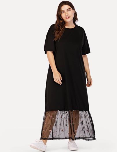 d334fea933 Plus Drop Shoulder Lace Hem Dress -SheIn(Sheinside)