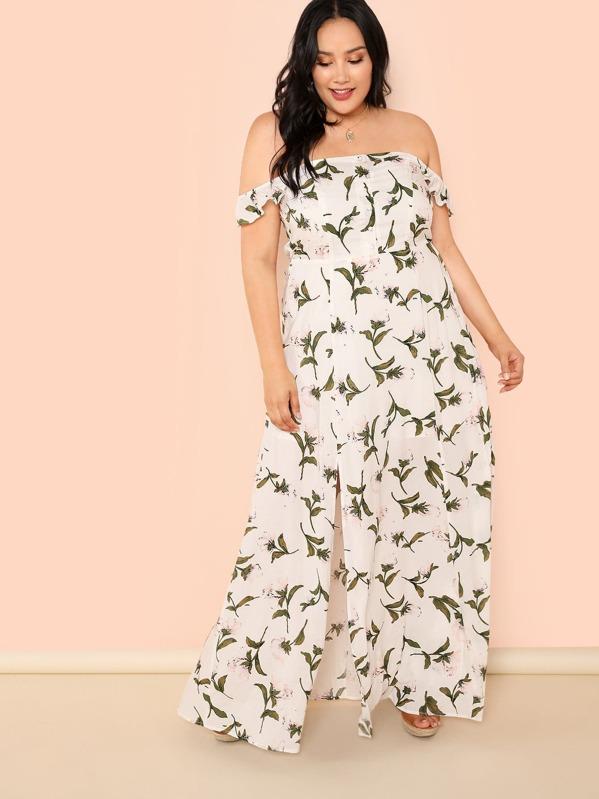 Grande taille Robe épaules dénudées imprimée fleur au bord fendu-French  SheIn(Sheinside) 157b81794b1c