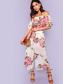 23efb3eac8d2 Flounce Layered Neck Boxed Pleated Wide Leg Jumpsuit