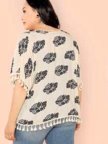 b64ae011b7c Plus Open Front Tassel Trim Kimono