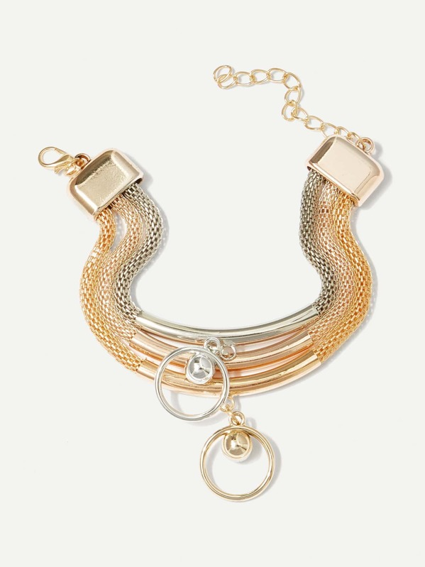 369931ed86 Ring Decorated Layered Chain Bracelet -SheIn(Sheinside)