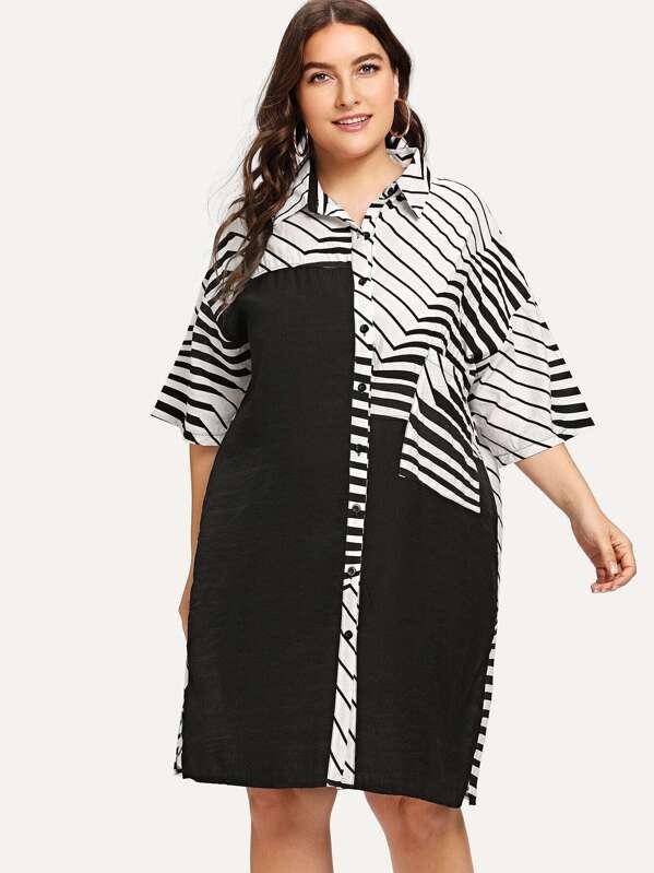 fe9ce8eef3 Vestido estilo blusa con estampado de rayas abstractas de talla  grande-Spanish SheIn(Sheinside)