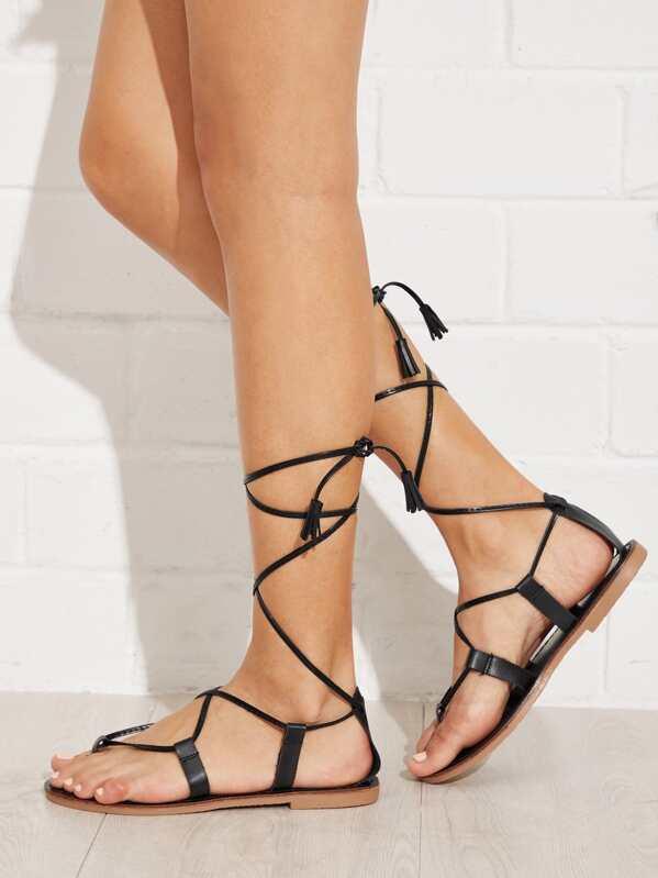83d8dadc697b Toe Post Tie Leg PU Sandals With Tassel -SheIn(Sheinside)