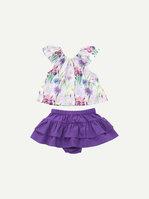 bd9d4447b Blusa floral de niñas con diseño de cordón con falda bajo fruncido