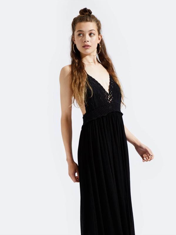 fffad17211ee7 Crochet Halter Maxi Dress -SheIn(Sheinside)