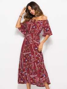 Robe imprimée fleurie à épaules dénudées-French SheIn(Sheinside) 939d99a70fbd