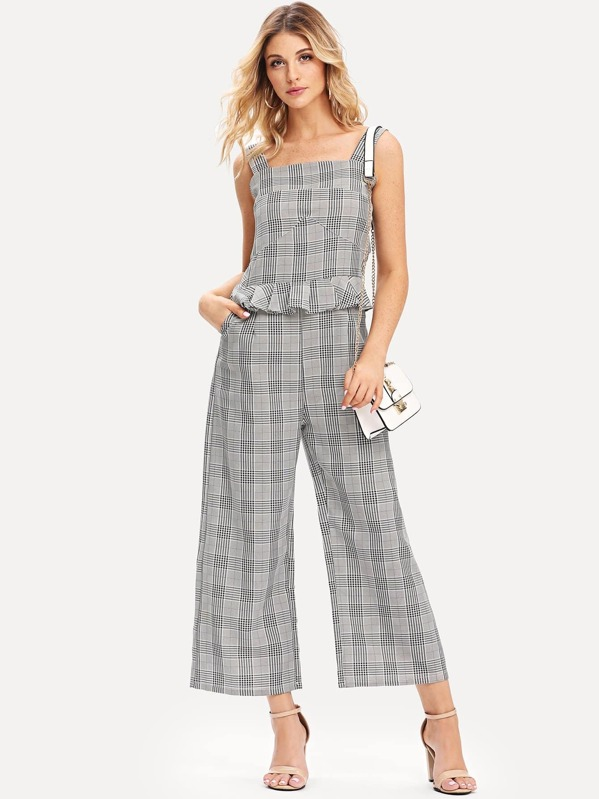 207745213358 Glen Plaid Overall Pants Bodysuits And Jumpsuits Overalls Plaid