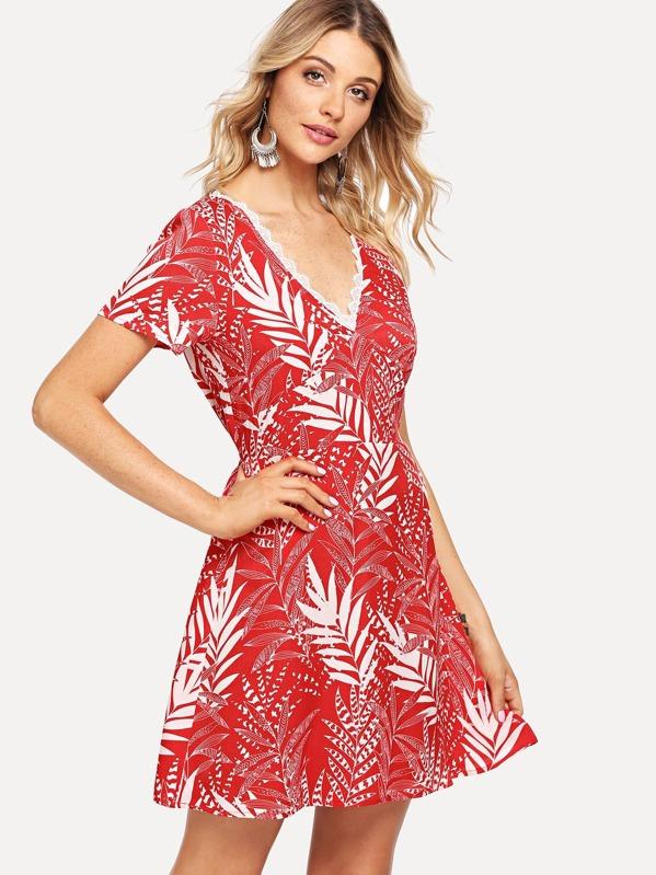 Jungle Leaf Print Scalloped Lace Neck Dress -SheIn(Sheinside) b2b2f5397