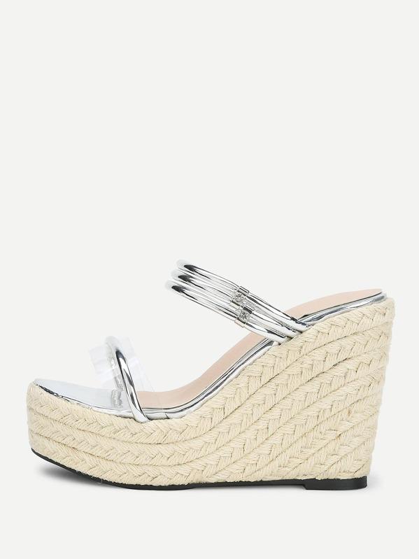 e7e74a135ec Clear Detail Woven Wedge Sandals -SheIn(Sheinside)