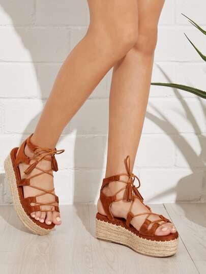 8660d1e6900 Tie Leg Wedge Sandals With Tassel