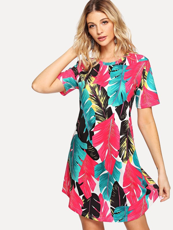 Jungle Leaf Print Dress -SheIn(Sheinside) 8236783ba