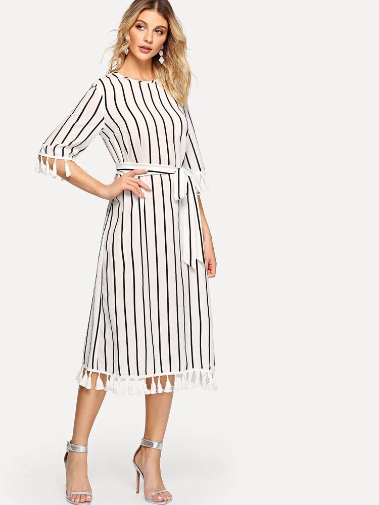 f1709bc08a Tassel Embellished Keyhole Back Striped Dress   SHEIN
