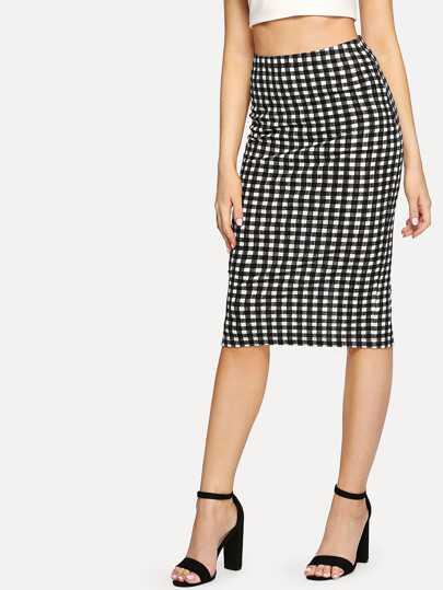 0ff13e9211 Split Back Plaid Pencil Skirt