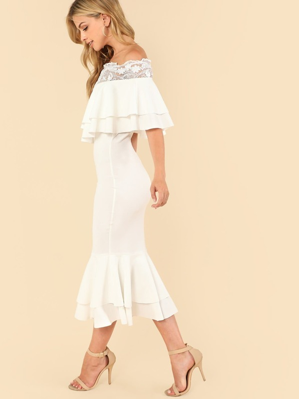 c958417675 Sheer Lace Trim Layered Foldover Fishtail Dress | SHEIN