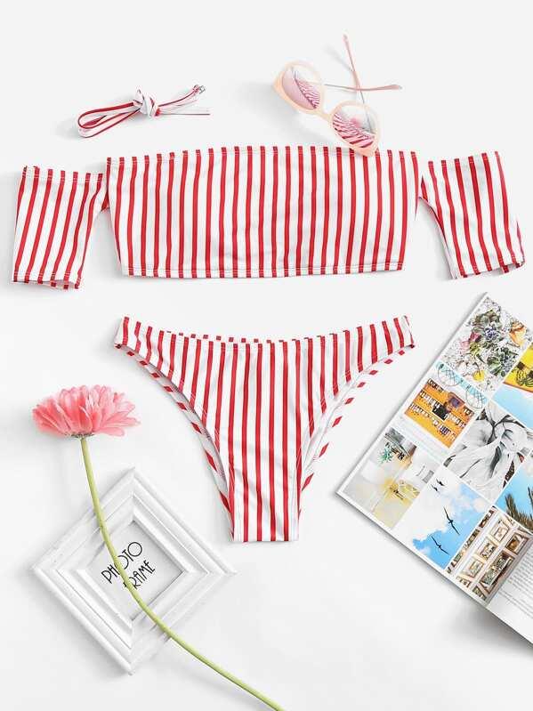 Off The Shoulder Striped Top With Seam Trim Bikini Set -SheIn(Sheinside) eefd9222888fd