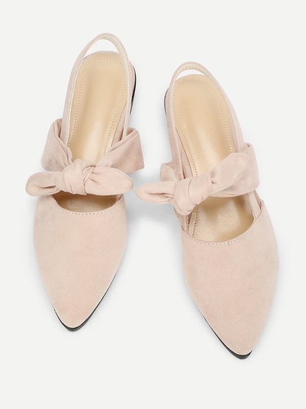 Knot Design Pointed Toe Suede Flats by Sheinside