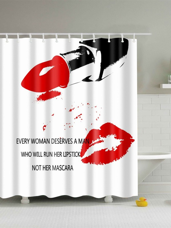 Lipstick Shower Curtain With Hook 12pcs SheInSheinside
