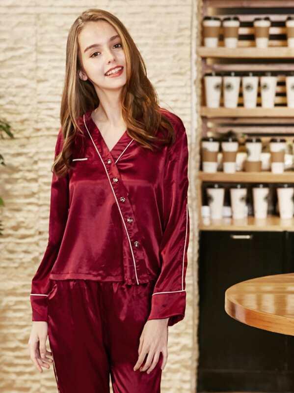 9bc55b652a Contrast Binding Button Up Pajama Set -SheIn(Sheinside)