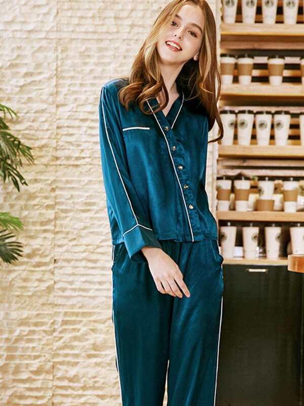 280bbfc9d8 Contrast Binding Button Up Pajama Set