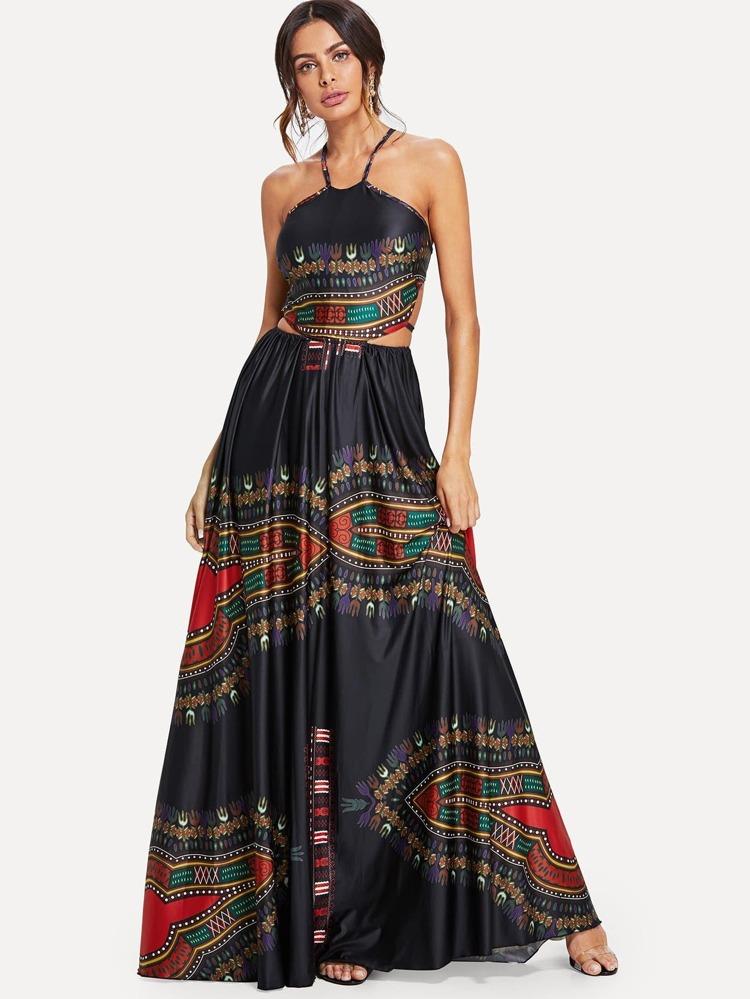 c295845a13d Ornate Print Cut Out Halter Dress