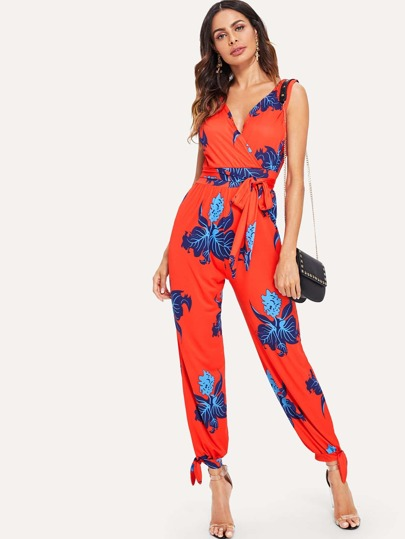 59e6cf56aa Wrap Front Floral Jumpsuit with Belt