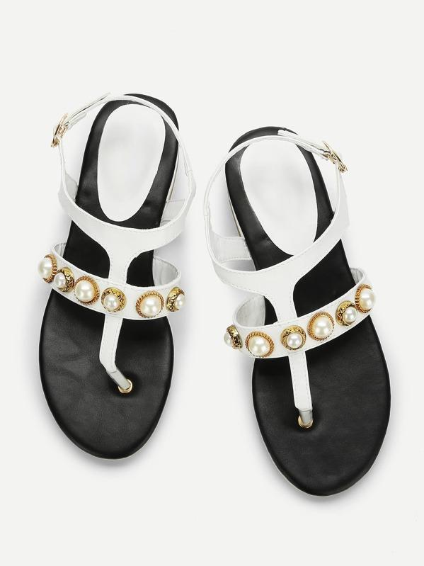 2b1a6ae24c724 Faux Pearl Toe Post Flat Sandals -SHEIN(SHEINSIDE)