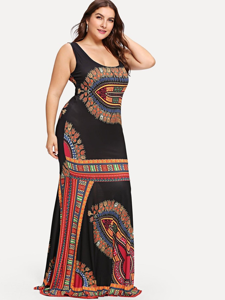 7e1caf6d50f Plus Ornate Print Fitted Tank Dress