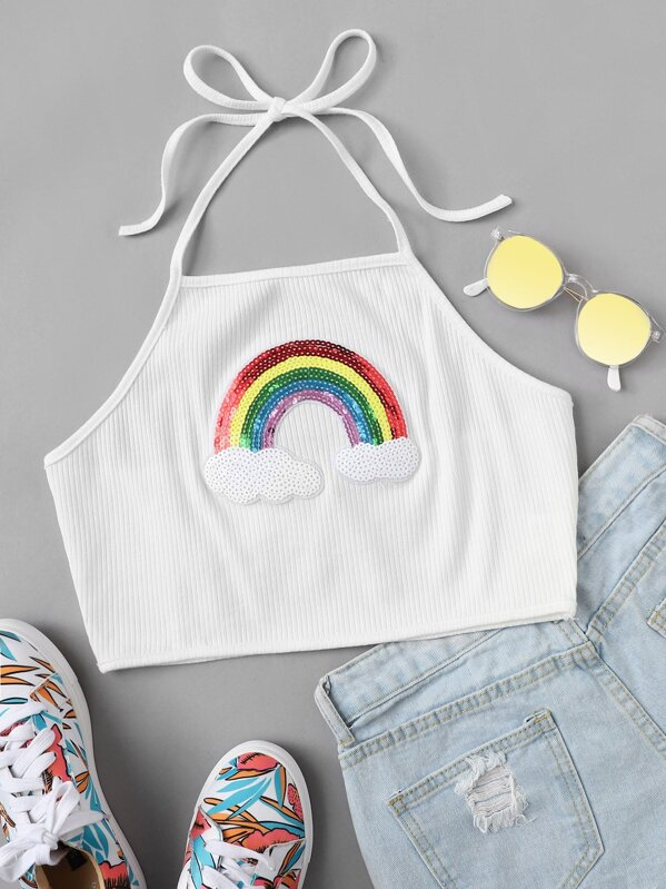 Contrast Rainbow Sequin Rib Knit Halter Top -SheIn(Sheinside)