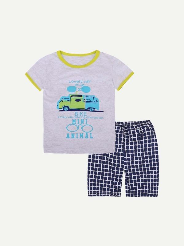 4628a63a605a T-shirt per bambini con stampa auto per bambini-Italian SheIn(Sheinside)