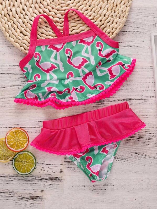 02f4c20ad310 Set de bikini de niñas con pompón con estampado de flamencos